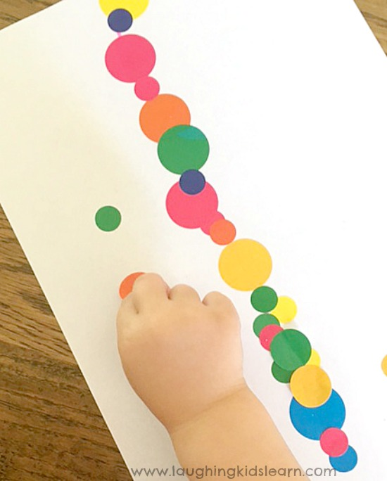 Fine Motor stickers on a line