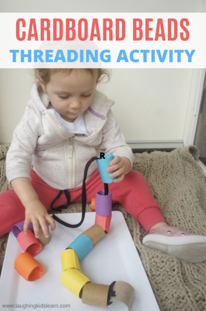cardboard beads for threading with children