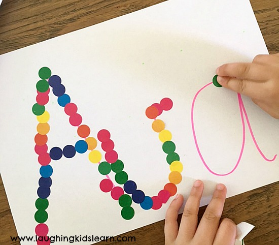 Sticker name activity for kids