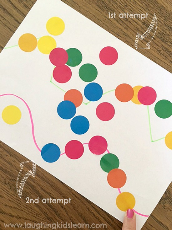 fine motor sticker activity for kids. Stickers on the line