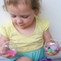 playing with sensory easter eggs