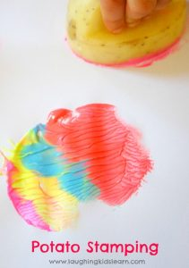 Potato stamping and printing is lots of fun for kids. Great for making wrapping paper or art work