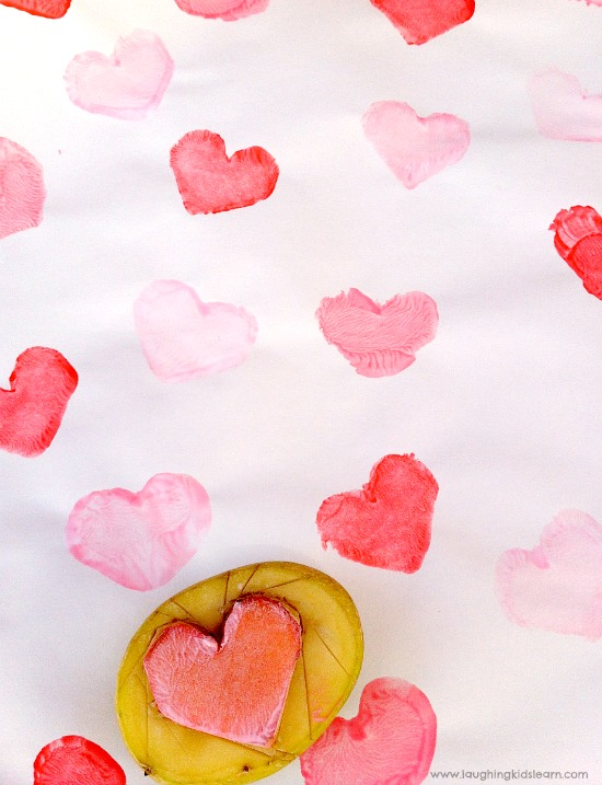 Mother's Day wrapping paper using heart stamp