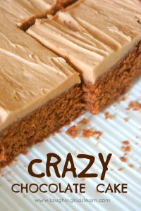 Quick and easy crazy chocolate cake recipe kids can help to make. Egg free and great for kids with allergies.