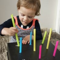 using straws in DIY homemade toy