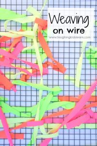 weaving on wire for fine motor activity