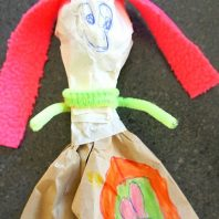 Simple paper bag doll craft for kids
