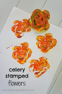 Painting and stamping activity using celery