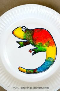 Colour changing Chameleon craft activity for kids using paper plates