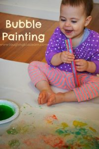 Bubble painting with kids
