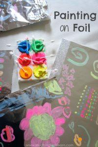 Having fun painting on foil