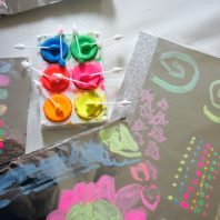 Painting on foil is lots of fun for kids