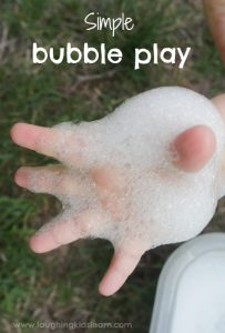Simple bubble play activity for kids