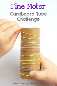 fine motor cardboard tube challenge for kids
