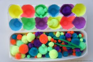 Simple fine motor and colour sorting activity using an egg carton