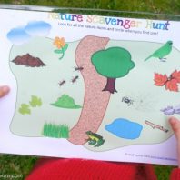 nature scavenger hunt for kids to use outdoors