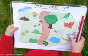 Toddler nature scavenger hunt with a free illustrated printable