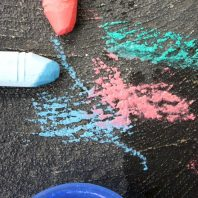 drawing and painting with chalk and water