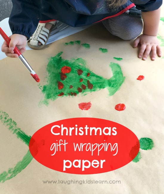Painting Christmas gift wrapping paper