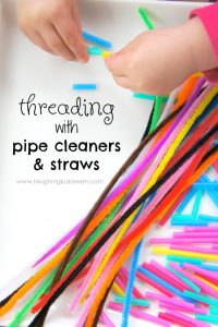 fine motor threading activity using pipe cleaners and straws