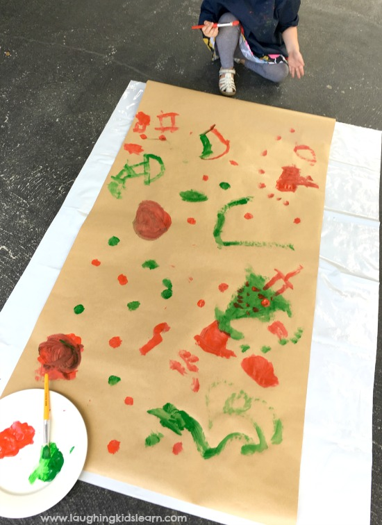 large scale painting wrapping paper for christmas