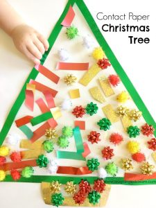 Contact paper christmas tree activity for toddlers