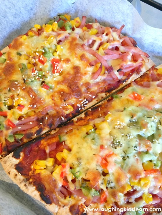 homemade delicious pizzas make by kids