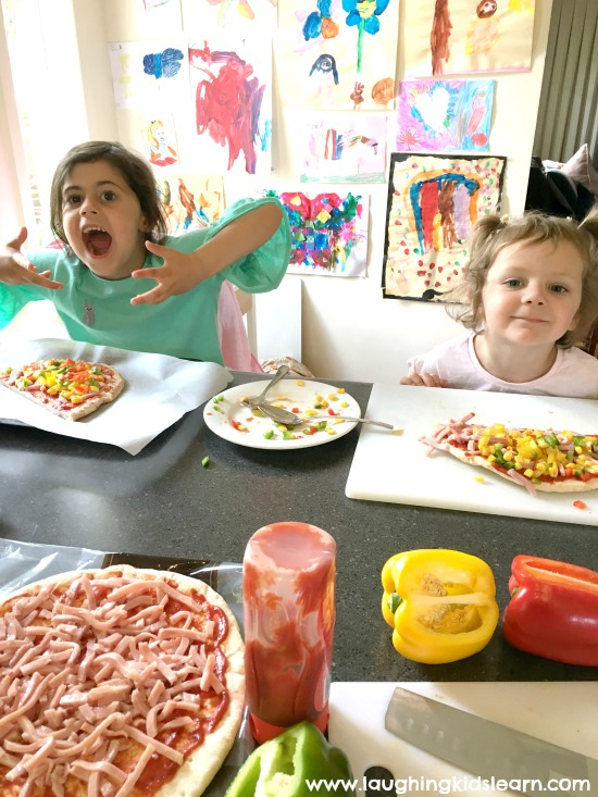 kids making pizza at home