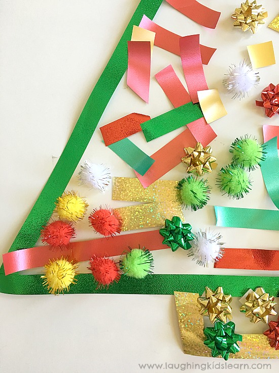 sensory play Christmas contact paper activity for kids