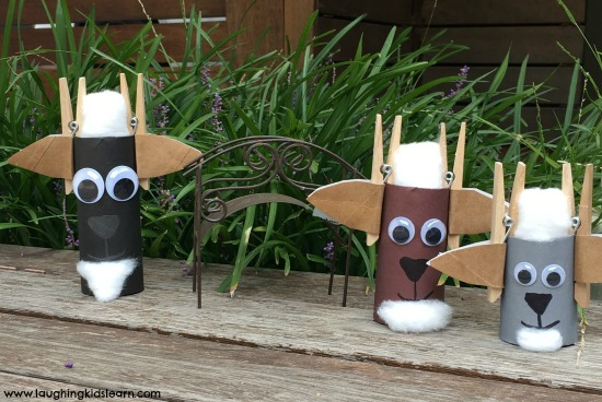 billy goats gruff cardboard tubes