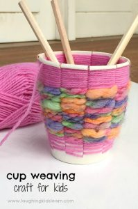 Paper cup weaving craft for kids to make and gift
