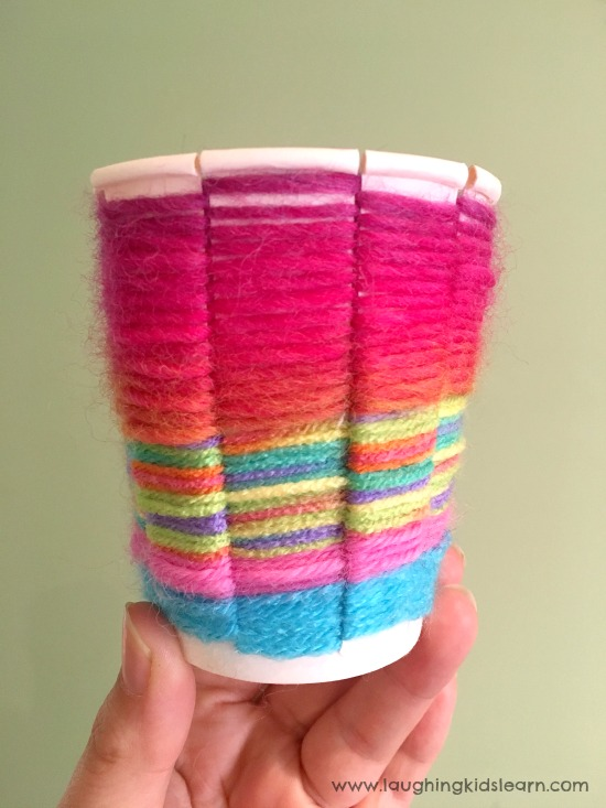 paper cup wool or yarn weaving activity for kids