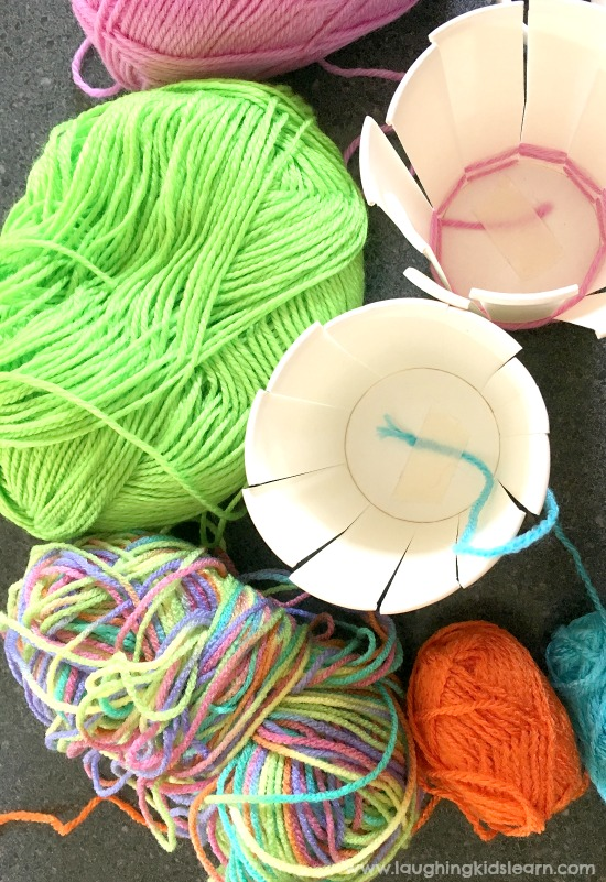 preparing for making a diy cup with wool or yarn