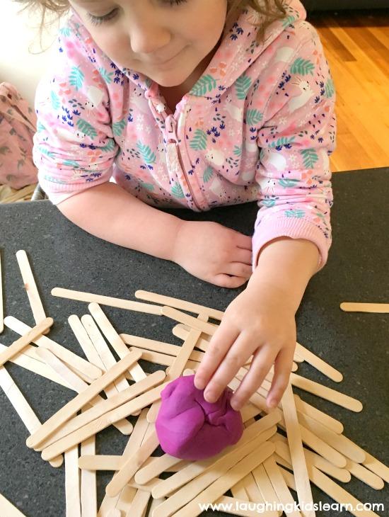 craft sticks and play dough fun