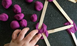 2D shape activity using craft sticks and play dough
