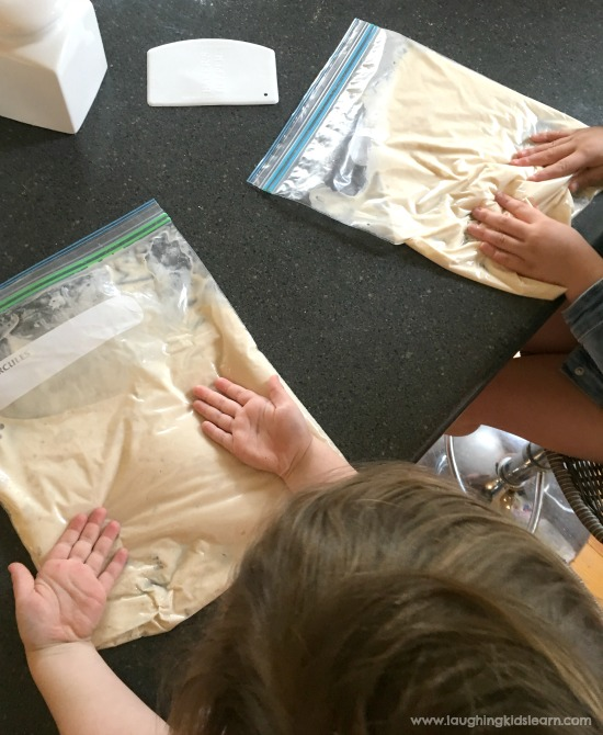 making bread in a bag mixing with kids