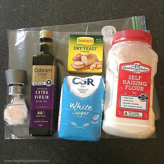 ingredients for bread in a bag