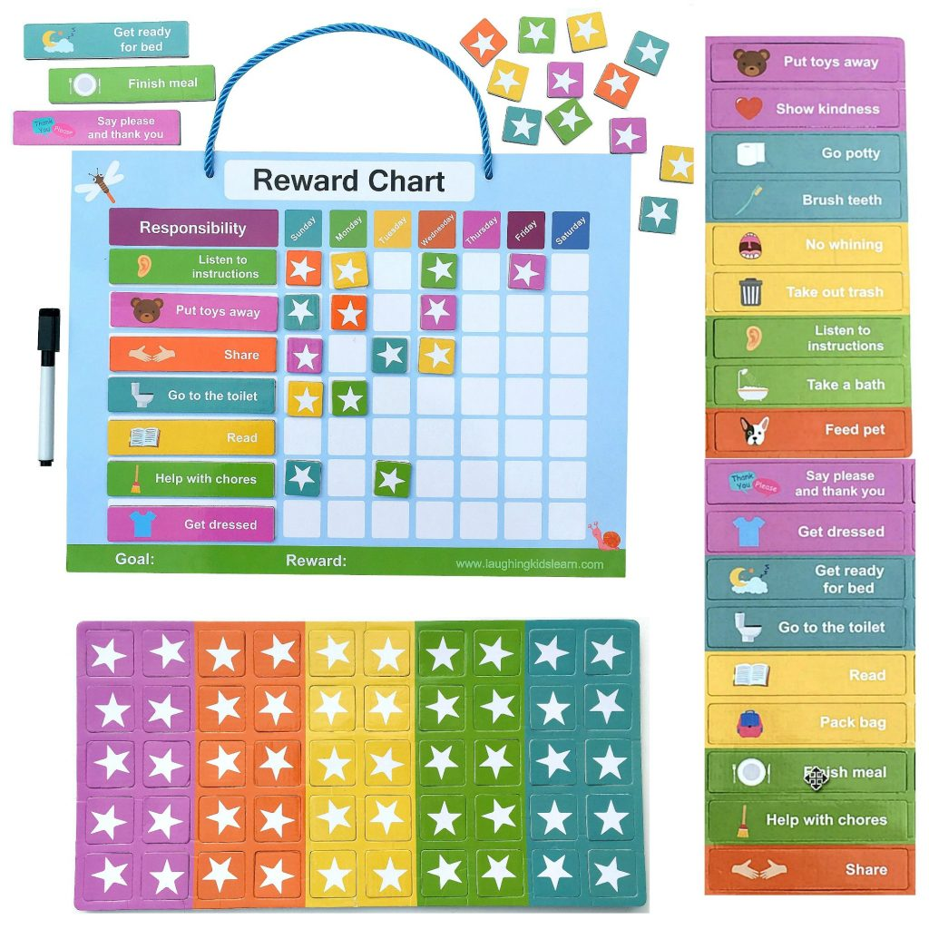 Magnetic reward chart for kids to use at home - Laughing Kids Learn