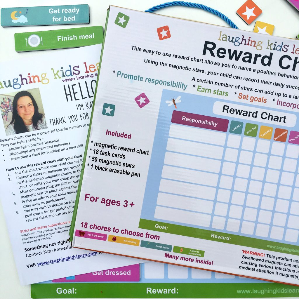 Amazon reward chart for kids packaging and instructions