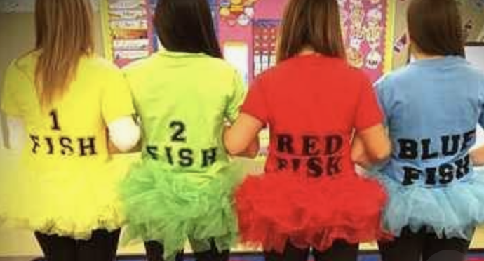 Teacher group costume ideas red fish blue fish