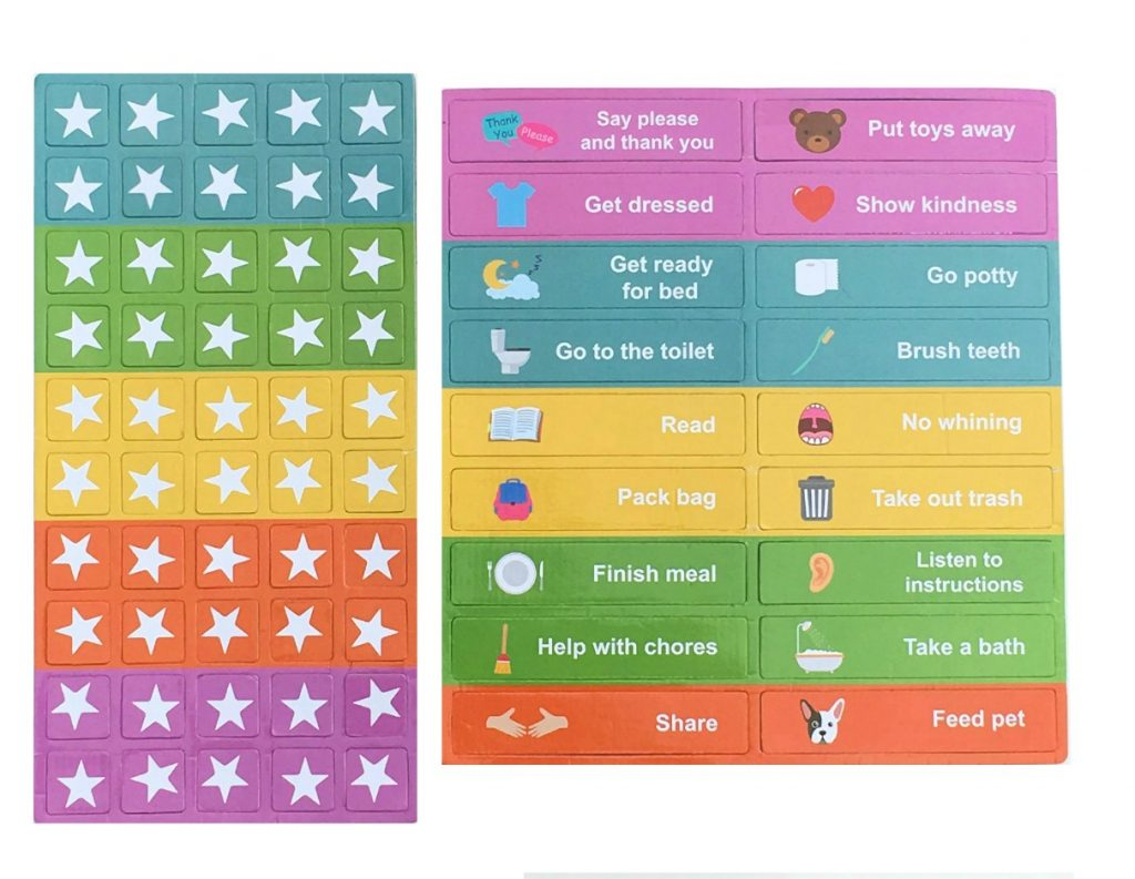 Stars and chores to use with the reward chart for kids and parents