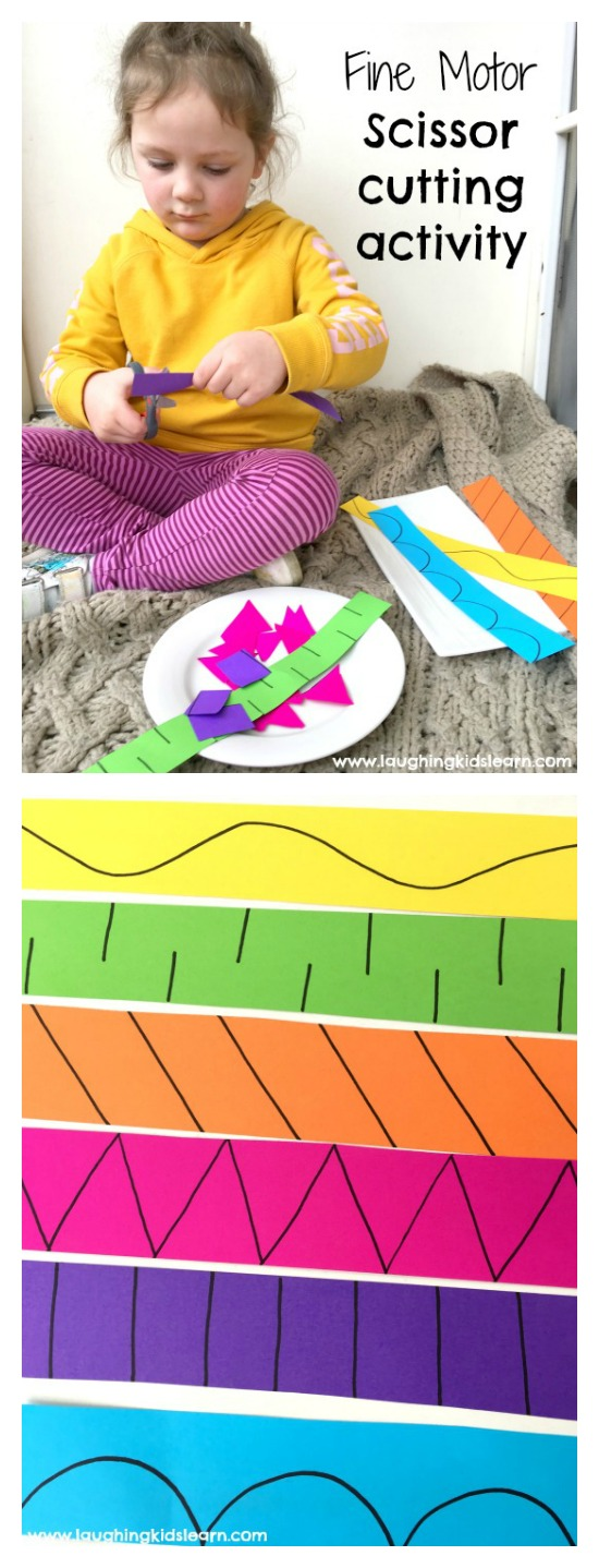 fine motor scissors cutting activity for kids and children