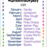 #12monthsofplay 2019 challenge for teachers and parents to use to encourage play