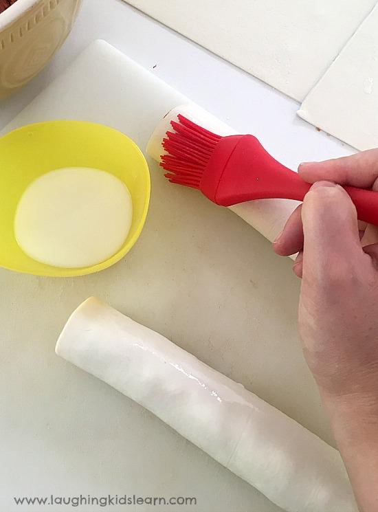 milk wash on sausage rolls