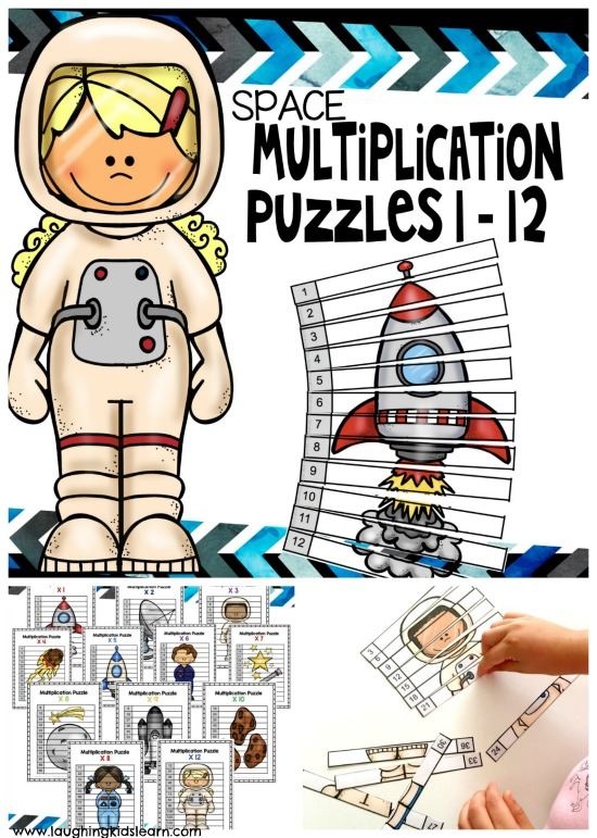 Teach your child multiplication with these fun space themed skip counting puzzles. They are fun to make and play with.