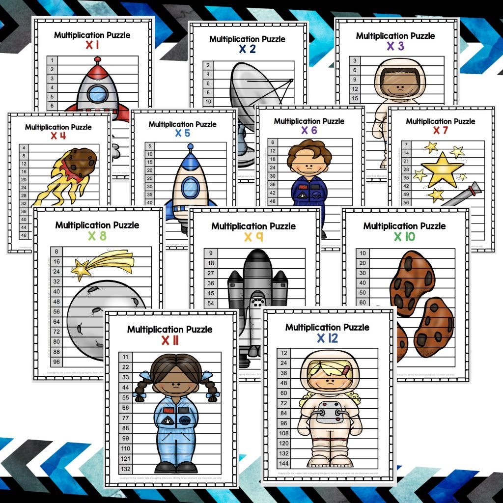 Space theme skip counting to help children learn about multiplication. Teachers Pay Teachers resource for school aged children and those homeschooling.