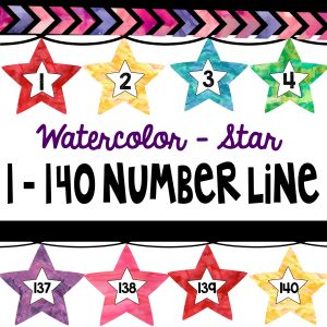 Get your hands on these Watercolor Stars Counting Number Line 1-140