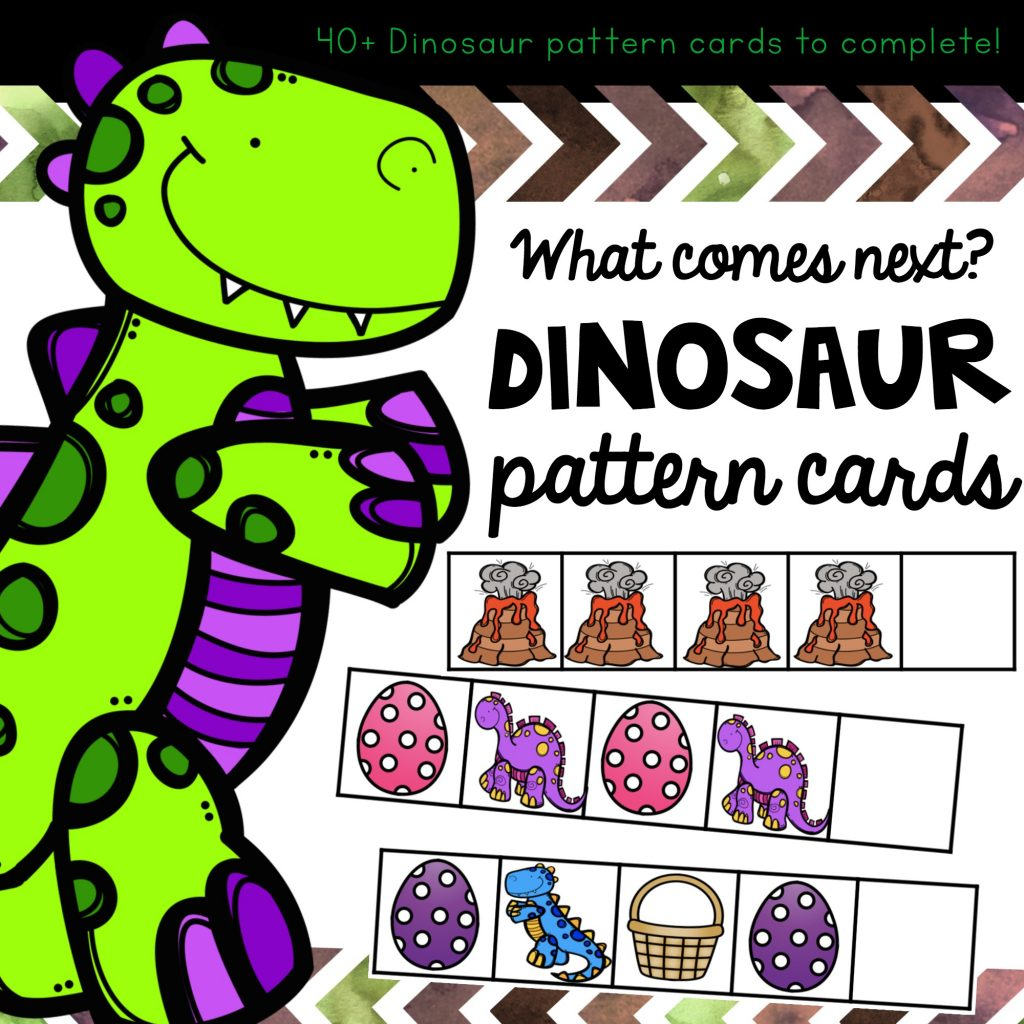 Dinosaur Patterning cards for prek or preschool children