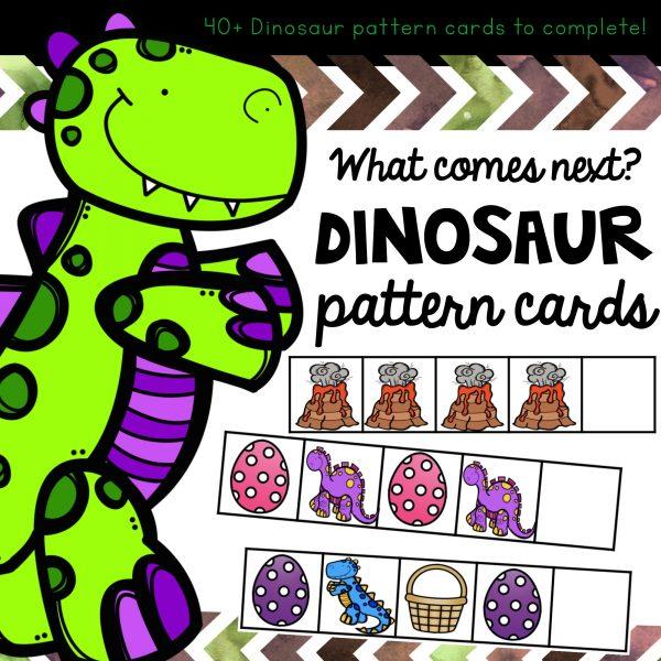 Dinosaur Patterning cards for prek or preschool children