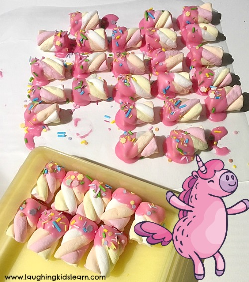 Delicious unicorn horns are great for parties and children can enjoy them as a treat and to share